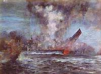 Painting by J. Schmitz-Westerholt depicting the sinking of battlecruiser HMS Hood on 24 May Prince of Wales is in the foreground. (US Naval History & Heritage Command. Hms Hood, Military Art, Military History, Sink The Bismarck, Marina Real, Hms Prince Of Wales, Naval History, British History, Epic Art