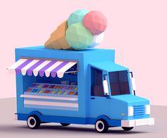 Low-Poly Ice Cream Car on Behance