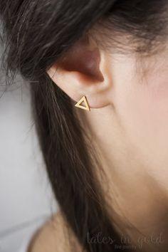 Triangle Earrings Stud Earrings Gold Earrings 14 by TalesInGold