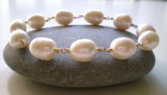 White Baroque Pearl Bracelet 14K GF Wire Wrap Bangle by FMBdesigns, $150.00