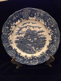 English Village Blue & White Plate by Salem China Co Olde Staffordshire - Lovely  | eBay