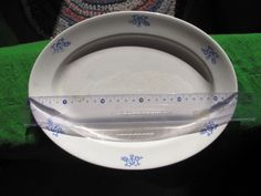 Large Antique Sweden Gefle Old Plate dish oval White blue craquelure very rare
