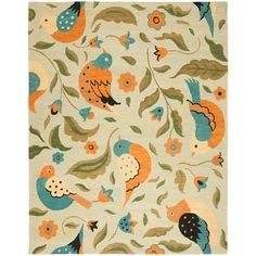 I want this Bird Rug! Bring gorgeous, vibrant style to your living room or bedroom with this chic rug. Hand-hooked from pure wool, this charming rug showcases a lively bird motif in a warm palette of sage, orange, and blue. Only $199