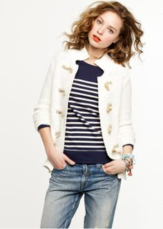 jcrew toggle white sweater navy striped shirt