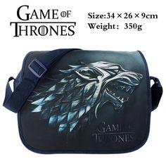 American TV Series Game of Thrones Aslant/Crossbody/Messenger/School/Shoulder Bag/Satchel Printed with the Symbol of House Stark