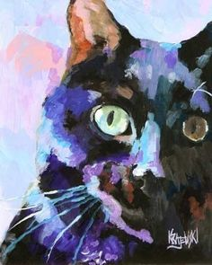 Black Cat Art Print of Original Acrylic Painting by dogartstudio, $12.50