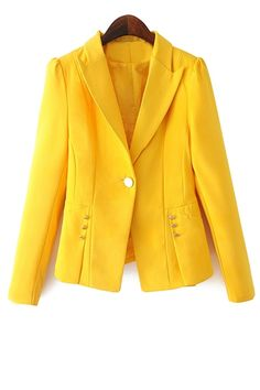 One Button Solid Color Blazer