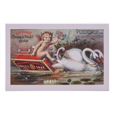 Vintage Soap Advertising Poster  Adorable cherub sitting on a Buchan's Carbolic Toilet Soap box. He is being towed through the wate...