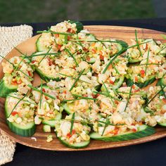 Cucumber Bruschetta with Grilled Shrimp and Crab Salad