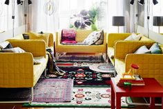 14 Styling Tricks To Steal From The IKEA 2015 Catalog #refinery29  http://www.refinery29.com/ikea-catalogue-styling-tips#slide14  If you can't decide on one rug, buy several smaller, less expensive options and layer.
