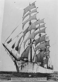 The ship 'Grace Harwar' under full sail.  From 'Sir George Grey Special Collections, Auckland Libraries, 4-1634