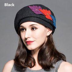 Leaf beret hat autumn winter wool hats for women