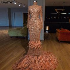 Customized Bling Bling Muslim Long Sleeves Celebrity Red Carpet Dresses With Full Pearls Feathers Prom Dresses vestido de festa Muslim Evening Dresses, Cheap Evening Dresses, Sexy Dresses, Evening Gowns, Beautiful Dresses, Fashion Dresses, Event Dresses, Prom Party Dresses, Feather Prom Dress