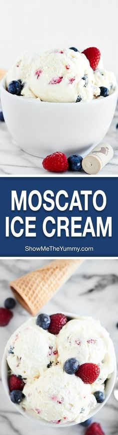 A perfectly sweet, fluffy adult's only treat, this Moscato Ice Cream comes together in a matter of minutes, requires NO ice cream machine, is super simple, and best of all, tastes ah-mazing! http://showmetheyummy.com Recipe made in partnership with @BarefootWine #ad #nochurnicecream