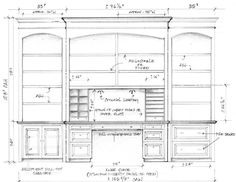 Shop drawing for custom built-ins (bookcases, desk, file drawers, etc.) for…