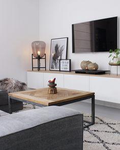 Meuble télé blanc et bois