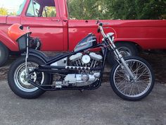 Really cool hardtailed Evo Sportster. I love the AMF style stripes on the tank.