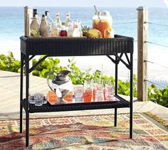Palmetto All-Weather Wicker Bar Console - Black | Pottery Barn
