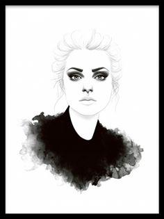 Ivy, poster. Poster med illustration. Poster med otroligt vacker illustration av en kvinna skapad av vårt egna designteam. Väldigt trendig och stilsäker med härlig svärta. Passar fint tillsammans med våra mode och fashion posters.