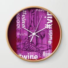 Hashtag Wine Wall Clock by artgaragefinland Wine O Clock, Typography Quotes, Oclock, Alcoholic Drinks, Artwork, Decor, Wine, Liquor Drinks, Art Work