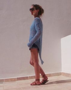 Turquoise blue sweater / Turquoise bluelightweight by ileaiye