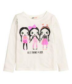 Jerseyshirt mit Druck | Naturweiß/Freunde | Kinder | H&M DE