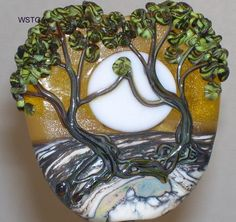 WSTGA~TAKE MY HAND IN THE LIGHT~TREE handmade lampwork glass bead focal SRA