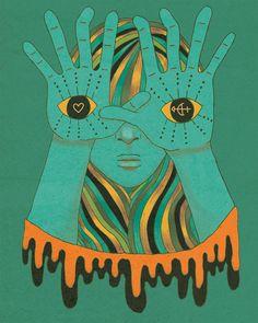 yeux de la gitane - 8 « x 10 » affiche, sticker, décoration murale, portrait, boho, psychédélique, retro, gitane, yeux, hippie, Bohême
