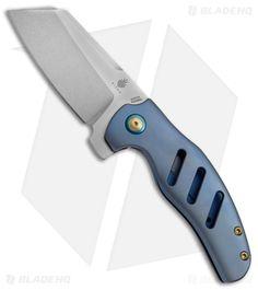 """Kizer Sheepdog C01C Frame Lock Knife Blue Titanium (3.25"""" Stonewash) Ki4488A"""