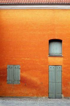 Orange building, Copenhagen, Denmark, photograph by Ben Howes. Orange Walls, Rust Orange, Orange Grey, Orange Color, Gray, Orange Shades, Colour Colour, Orange Leather, Light Orange