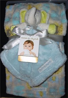 New Blankets & Beyond Blue Green Elephant 2 PC Set NuNu Baby Boy Blanket Lovey #BlanketsandBeyond