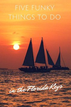 Ideas for your Florida Keys road trip: Cruise on a movie set in Key Largo, feed a tarpon at Robbie's in Islamorada, walk with history on the Seven Mile Bridge, celebrate a sunset at Mallory Square and watch a sea battle in the Key West harbor: five funky things to do in the Florida Keys when you travel to Florida.