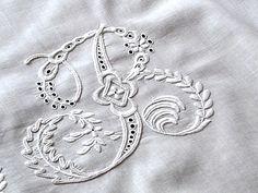 Hand embroidery monogram - whitework - B