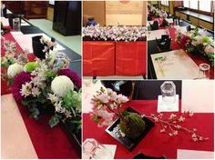 桜やダリア、マムを使った和の会場装花。 ゲストテーブルには細長い器を使ったモダンな和風アレンジを。桜の枝とグリーンの枝を使ってボリュームと動きを出しています。 桜を植えた苔玉を点在させて会場のアクセントに。[ 浅草 今半別館様 ]  ◆ ◆ kukka design ◆◆  東京・三軒茶屋にあるウェディングフラワーのオーダーメイドアトリエ www.kukka-flowers.com Japanese Wedding, Japanese Modern, Ikebana, Flower Arrangements, Wedding Flowers, Bouquet, Traditional, Table Decorations, Design