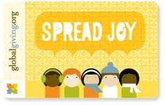 Kids can choose a cause to support and give a gift card. Wonderful way to teach your child the joy of giving back.