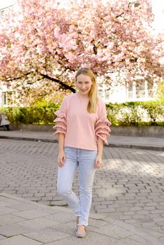 Cherry Blossom SheIn Bell Sleeves Sweater - The Kontemporary