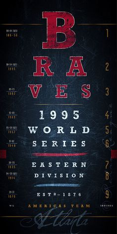 Atlanta Braves  20 Fathers Day Promo MLB Eye Chart by RetroLeague, $19.50