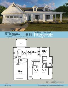 fitzgerald - Farmhouse Great Room Plans