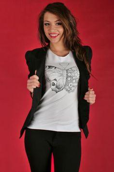 Koszulka z nadrukiem - motyl MADISSO S