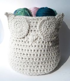 Basket Owl Crochet Pattern Storage Basket