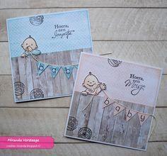 Gebaseerd op twee kaarten die ik eerder maakte, ontstonden deze twee kaartjes. Het vlaggenlijntje liep eerst 'gewoon' over het hout, totd... 3d Cards, Cool Cards, Card Making Inspiration, Making Ideas, Scrapbooking, Scrapbook Cards, Diy Homemade Cards, Aliexpress Dies Cards, Tarjetas Pop Up