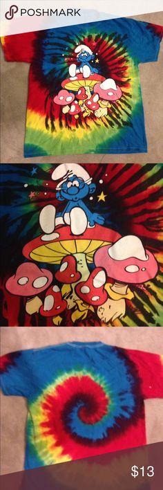 Hippy tie die shirt Smurf mushroom  hippie tie-dye T-shirt Tops Tees - Short Sleeve