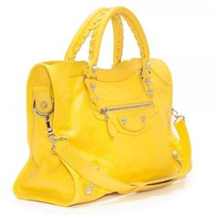Balenciaga Giant City yellow tote ($15) ❤ liked on Polyvore