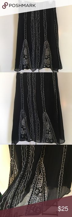 f05f759184117 Anthropologie odille black and white skirt. Size 4 100% silk black and  white embroidered