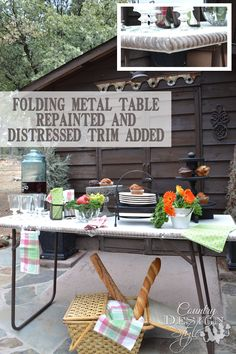 Making over a folding metal table and adding distressed rope trim along the edge.  Country Design Style