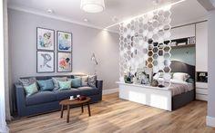 Без глобальной перепланировки на скромных 44 метрах дизайнерам из CO:interior удалось создать уютное пространство для двоих. Ключ к успеху – грамотное зонирование