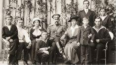 Family of Grand Duke Alexander Mikhailovich and Grand Duchess Xenia Alexandrovna in August 1914. Prince Felix Yusupov (standing, second from...