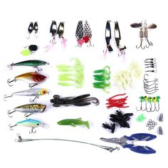 Fishing Lures Kit With Tackle Box Crank Baits Soft Worms Hooks B