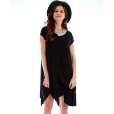 Your new go-to dress for fall in every color! This flattering, easy-to-throw on asymmetrical shift dress features a raw-edge hem and a comfy fit with a little bit of stretch. Made in the USA, we love the scoop neckline and how versatile it is. Dress it up with heels or pair with tights and boots for an everyday look!