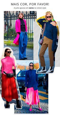 Julie Pelipas - colorida - color blocking - verão e inverno - street style  Mas nem só de básicos vive a fashionista, o color blocking também rouba a cena nos outfits e dão um toque atual aos looks.